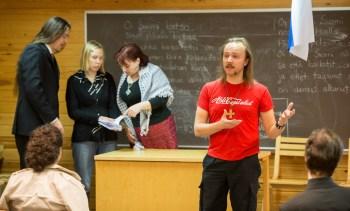 Social democractic student Tuomas Kallo holding a speech. Ingame. Photo: Tuomas Puikkonen (CC-BY 2.0)