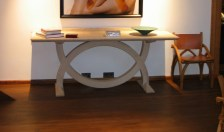 Split Ring Table in bleached oak and Treble Zero Chair