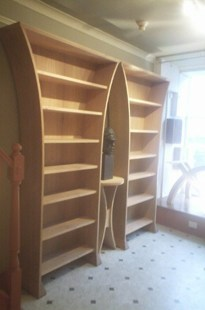 Two sets of Lotus Shelves with Hourglass Side Table