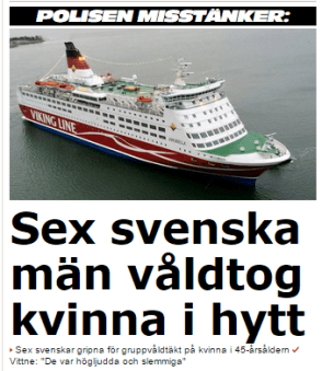 Här kallade Aftonbladet somalier som var somaliska medborgare för svenska män. Finsk media skrev män boende i Sverige vilket var korrekt.