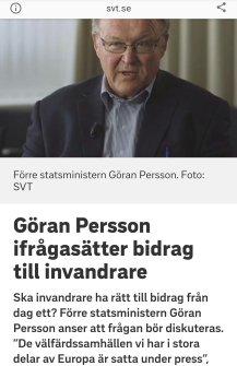 SVT Göran Persson ifrågasätter bidrag