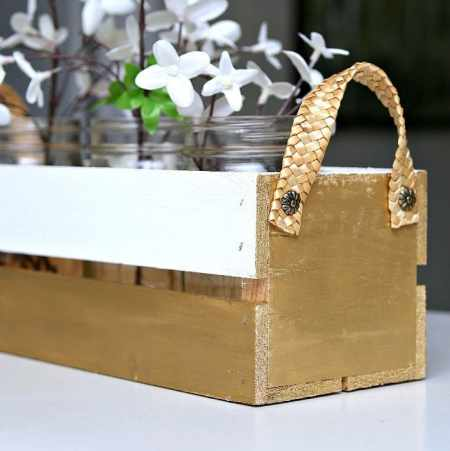 Decorating With Metallic Gold Paint Petticoat Junktion mason jar flower crate project