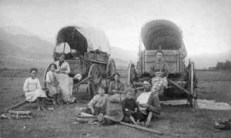settler with wagons