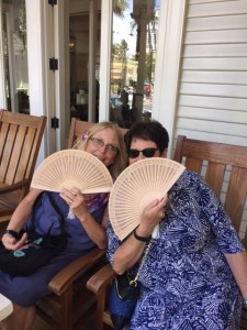 Us with our fans in the rocking chairs