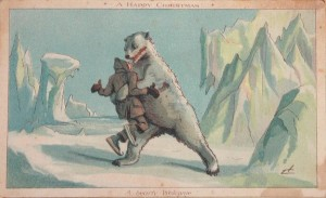 Vintage Christmas--polar bear mauling man