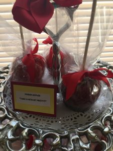 Poison apple favors (although they were actually harmless cinnamon)