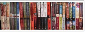 Here are book spines from many of my books...not all of them
