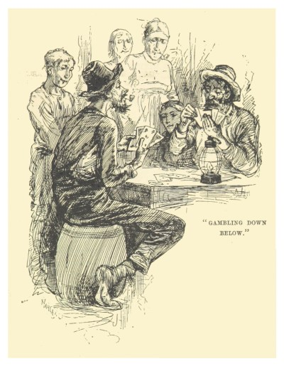 """Gambling Down Below,"" illustration from the Mark Twain story of the same name, 1883"