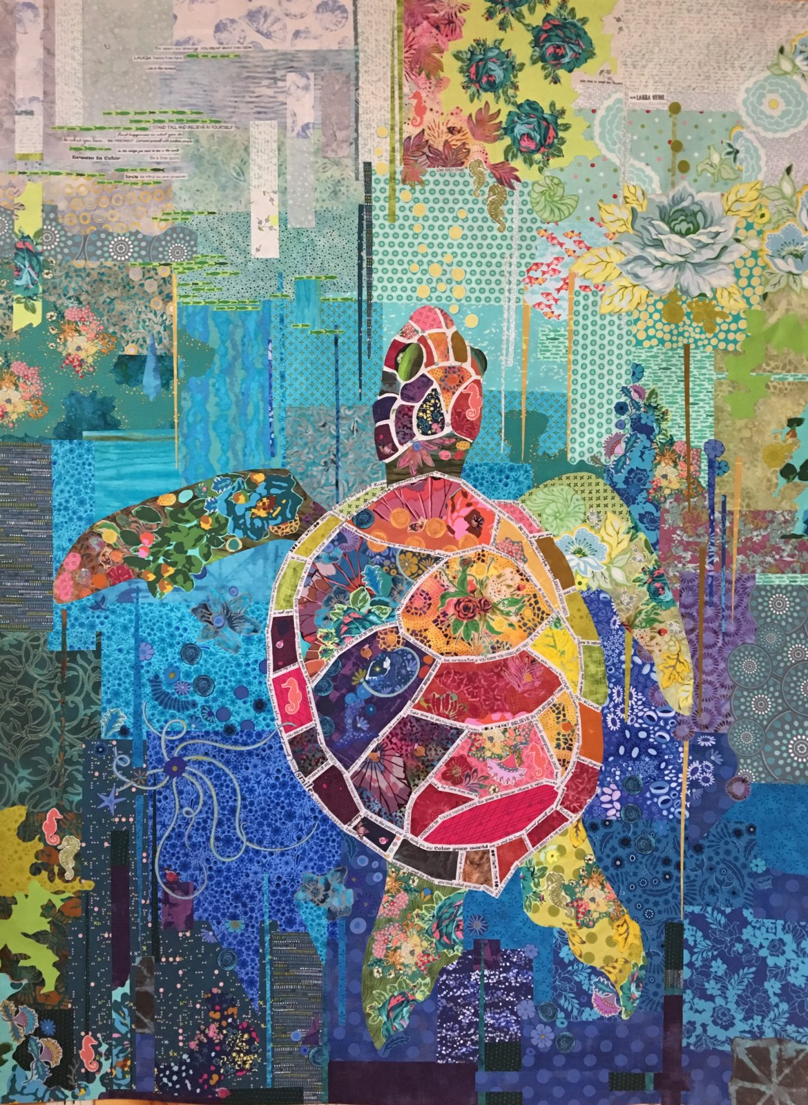 Laura Heine Seawell Collage Sea Turtle Pattern