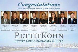San Diego Magazines Top Lawyers 2017 Pettit Kohn Ingrassia Lutz Doli