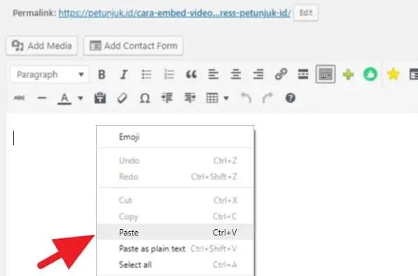 Cara Embed Video Youtube WordPress