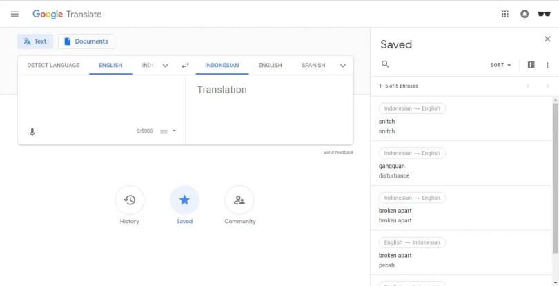 Riwayat Google Translate PC