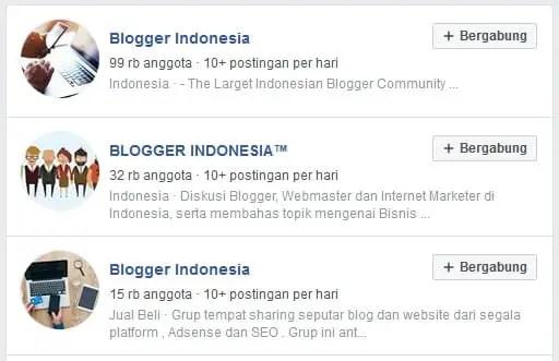 Komunitas Blogger di grup Facebook