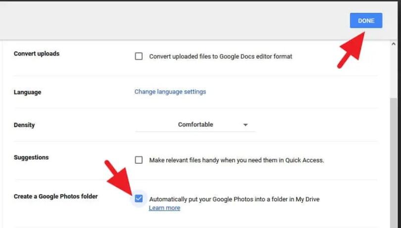 Pengaturan Google Photos di Google Drive