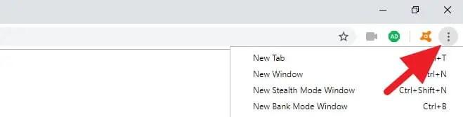 Avast Secure Browser Menu