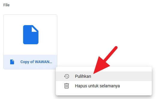 Memulihkan file Google Drive yang terhapus