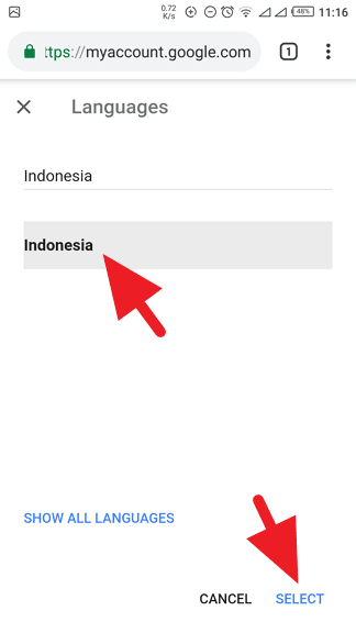 Bahasa Indonesia Google My Account
