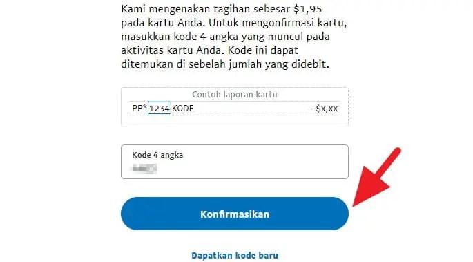 Kode konfirmasi Paypal