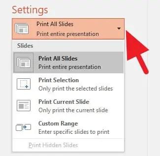 Jumlah slide yang ingin dicetak di PowerPoint