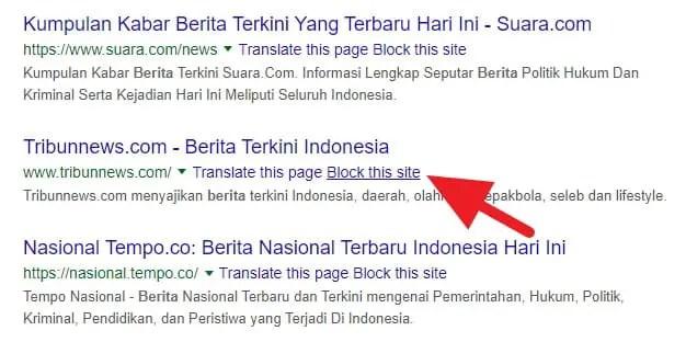 3 Cara Blokir Situs Tertentu dari Hasil Pencarian Google 5