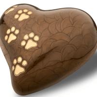 Pearl Heart Bronze Gold Tone Paw Prints