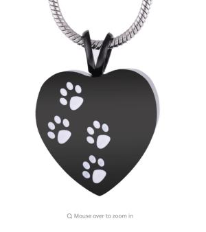 Black Heart White Paw Print Cremation Pendant