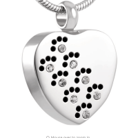 Stainless Steel Paw Print Crystal Heart