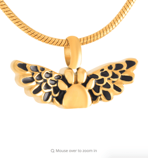 Polished Gold Tone Stainless Steel Paw Print with Angel Wings