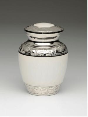 White Enamel Silver Cremation Urns
