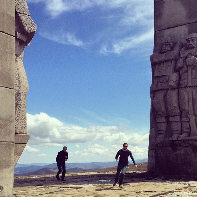 Snowball fight on top of #Bulgaria. Bachiyski Sr & Jr at their best.