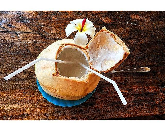 Simple & delicious. The ultimate snack around here – cheap, refreshing & delicious. That & fresh mango with sticky rice. On my list of things I'll miss the most about #Thailand. #coconut #coconutwater #KohLanta #hmgoes