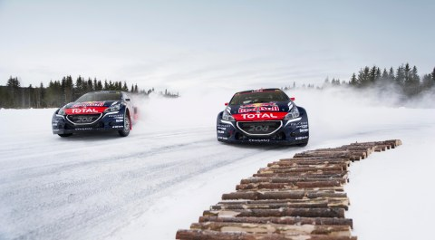 Sebastien Loeb and Timmy Hansen perform at Rallycross on Ice 2016 in Åre, Sweden on March 17, 2016.