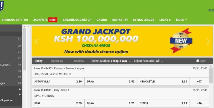 23rd February 2020 Betika Grand Jackpot Results, Bonuses and Winners