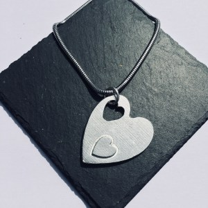 Fallen Heart Pendant, Handmade UK Modern English Pewter, Heart Necklace
