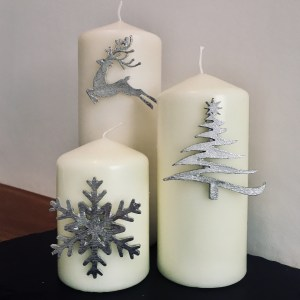 Christmas Candle Decor (Set of 3) Snowflake, Reindeer/Stag, Christmas Tree