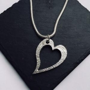 Heart Pendant, Handmade UK Modern English Pewter, Slanted Heart Necklace