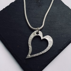 Heart Pendant, Handmade UK Modern English Pewter, Slanted Heart Necklace