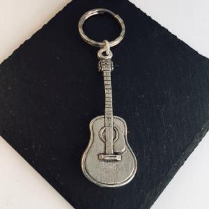 Guitar Key ring, Handmade UK Modern English Pewter, Guitar Keychain
