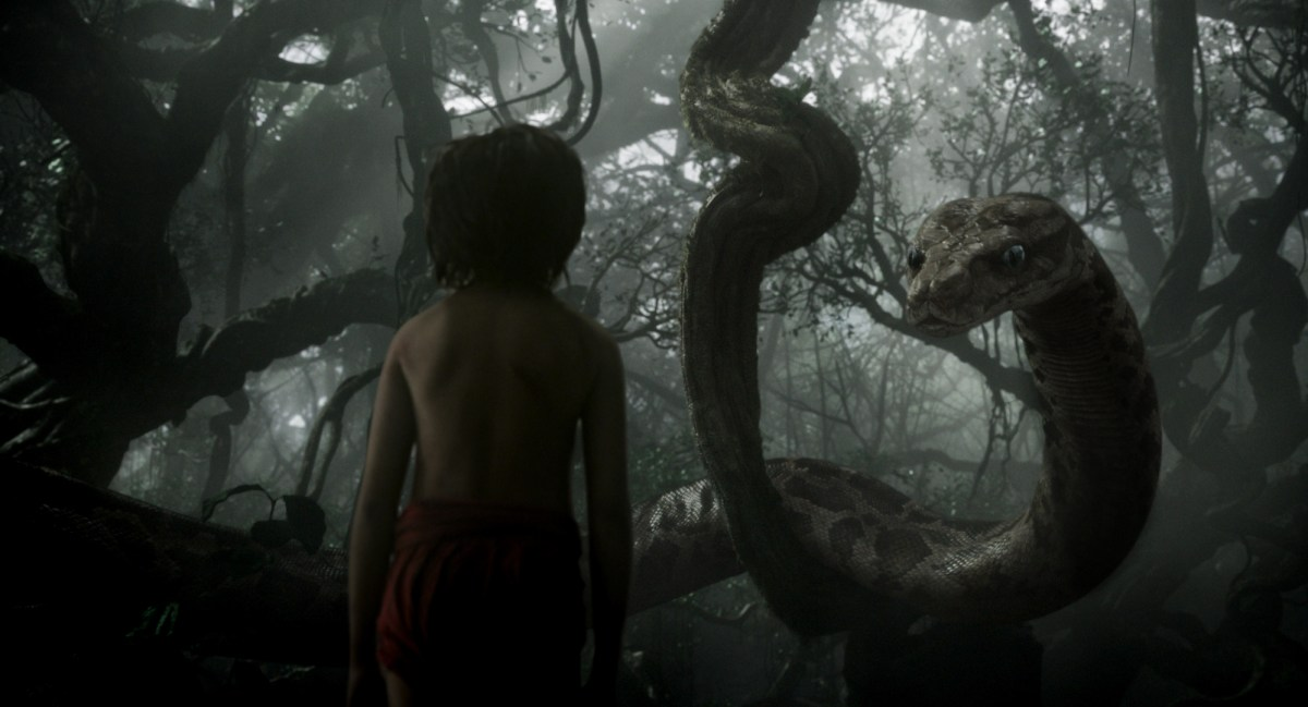 THE JUNGLE BOOK - (L-R) MOWGLI and KAA. ©2015 Disney Enterprises, Inc. All Rights Reserved.