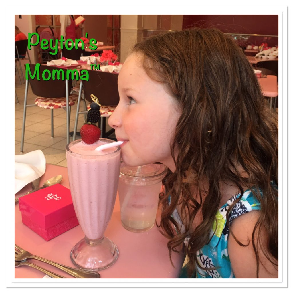 Peyton enjoying a shake at American Girl Bistro Mall of America