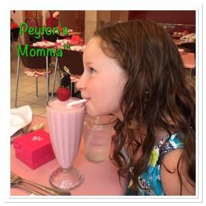 Peyton enjoying a shake at American Girl Bistro Mall of America