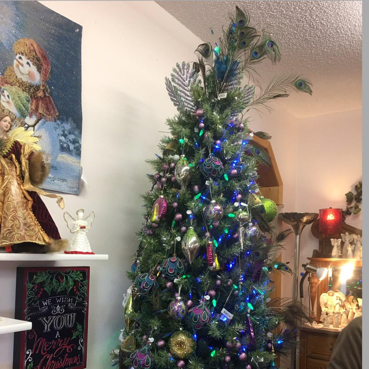 Peacock Themed Christmas Tree at Christmas Village