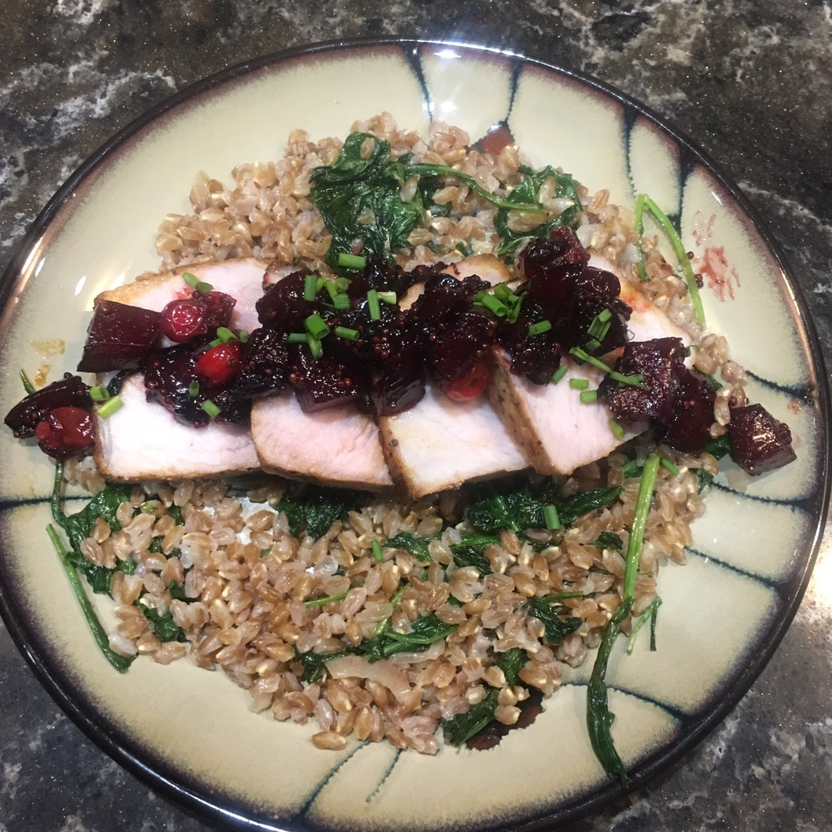 Blue Apron Roasted Pork with Beet and Cranberry Agrodolce