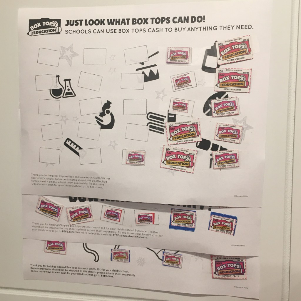 Box Tops for Education Products Collection Sheets