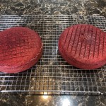 Finished 8 inch red velvet cake rounds