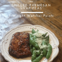 Grilled Spicy Pork Chops with Parmesan Snap Peas