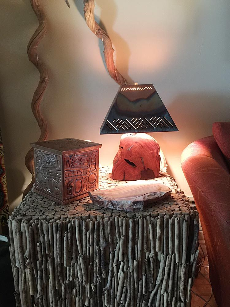 Mesquite lamp with inlay turquoise and copper shade