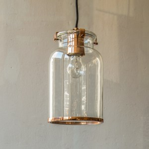 Glass Copper Hanging Light