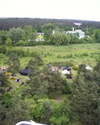 Luftaufnahme Zeltplatz Blick zum Schwimmbad