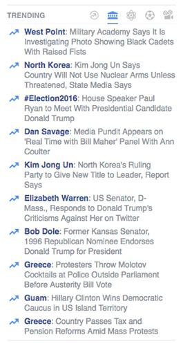 Trending News van Facebook
